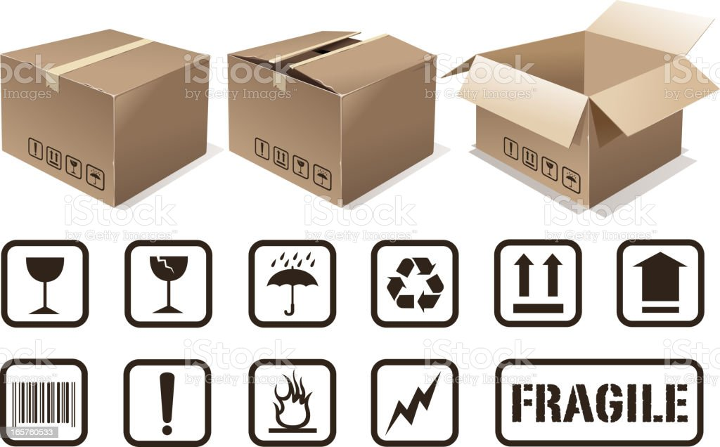 cardboard set vector art illustration