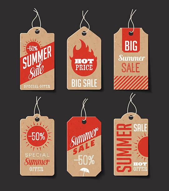 Cardboard Summer Sales Labels vector art illustration
