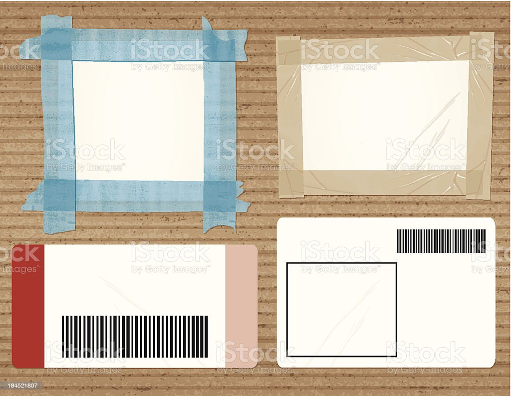 cardboard with four shipping labels vector art illustration
