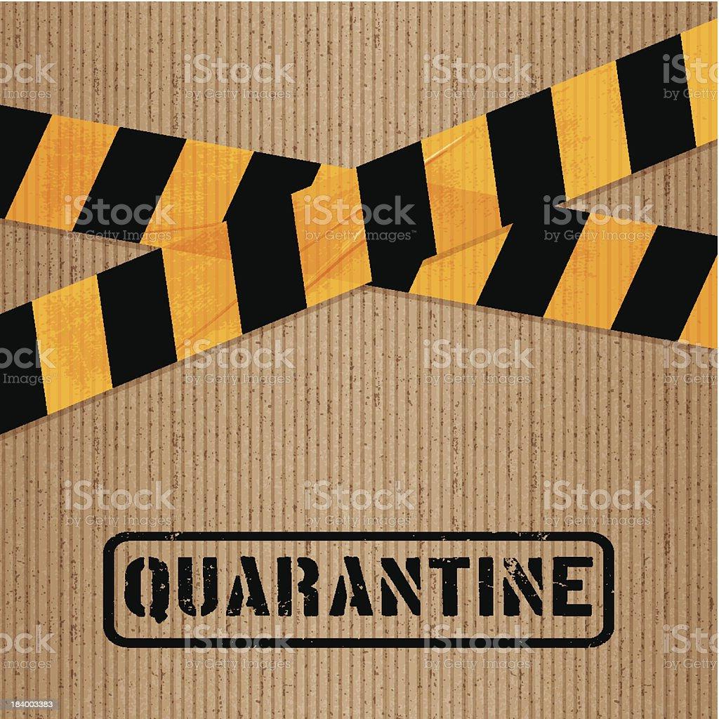 Pappe mit aufgedrucktem Packband und icons_quarantine – Vektorgrafik