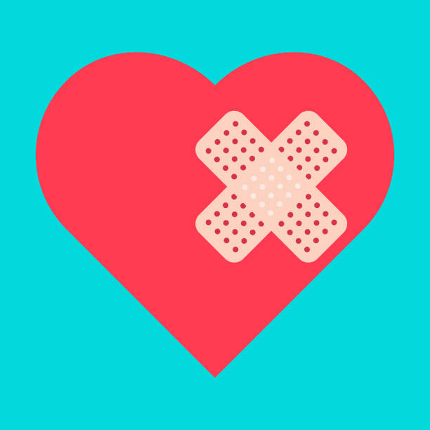 cardiac heart icon cardiac heart icon adhesive bandage stock illustrations