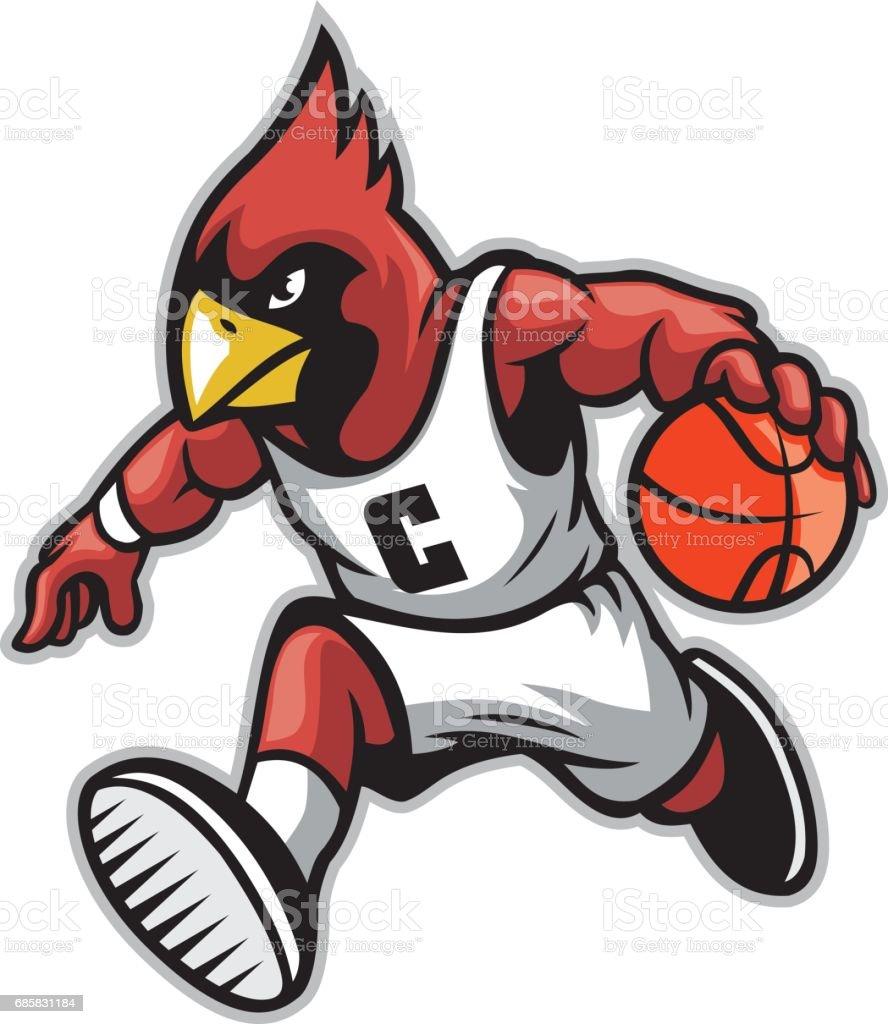 cardinal as a basketball mascot vector art illustration