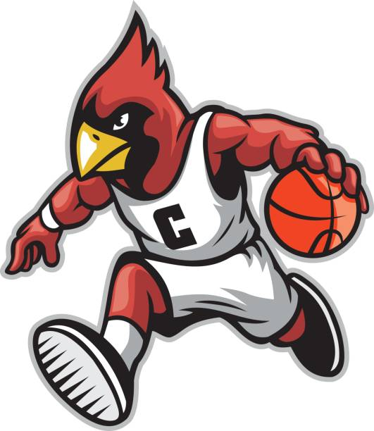 cardinal as a basketball mascot - cardinal mascot stock illustrations, clip art, cartoons, & icons