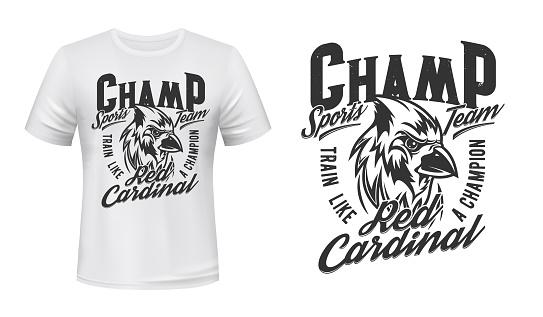 Cardinal bird mascot t-shirt print vector mockup