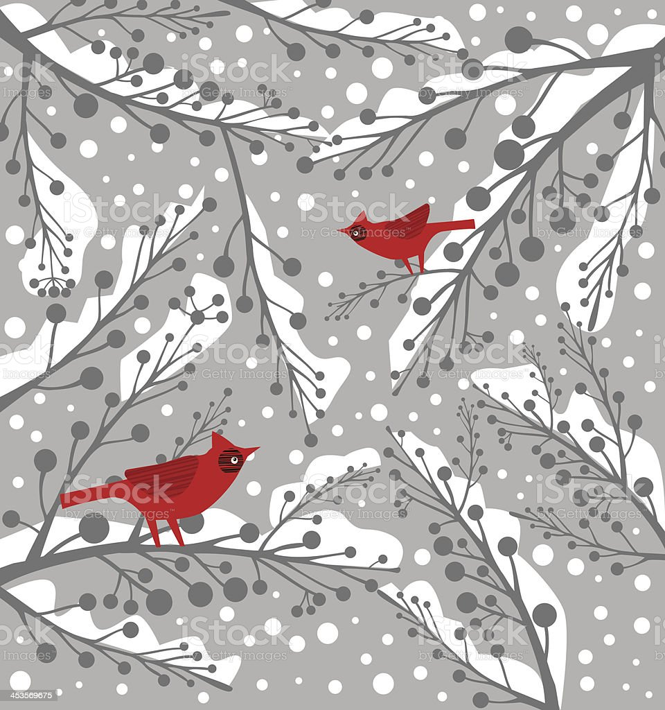 Cardinal Bird On Branch in Winter royalty-free stock vector art