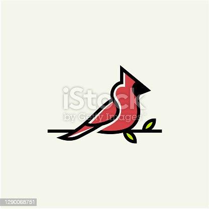 istock Cardinal bird symbol vector illustration stock illustration Indonesia, Animal, Animal Wildlife, Animal Wing, Beak, symbol 1290068751