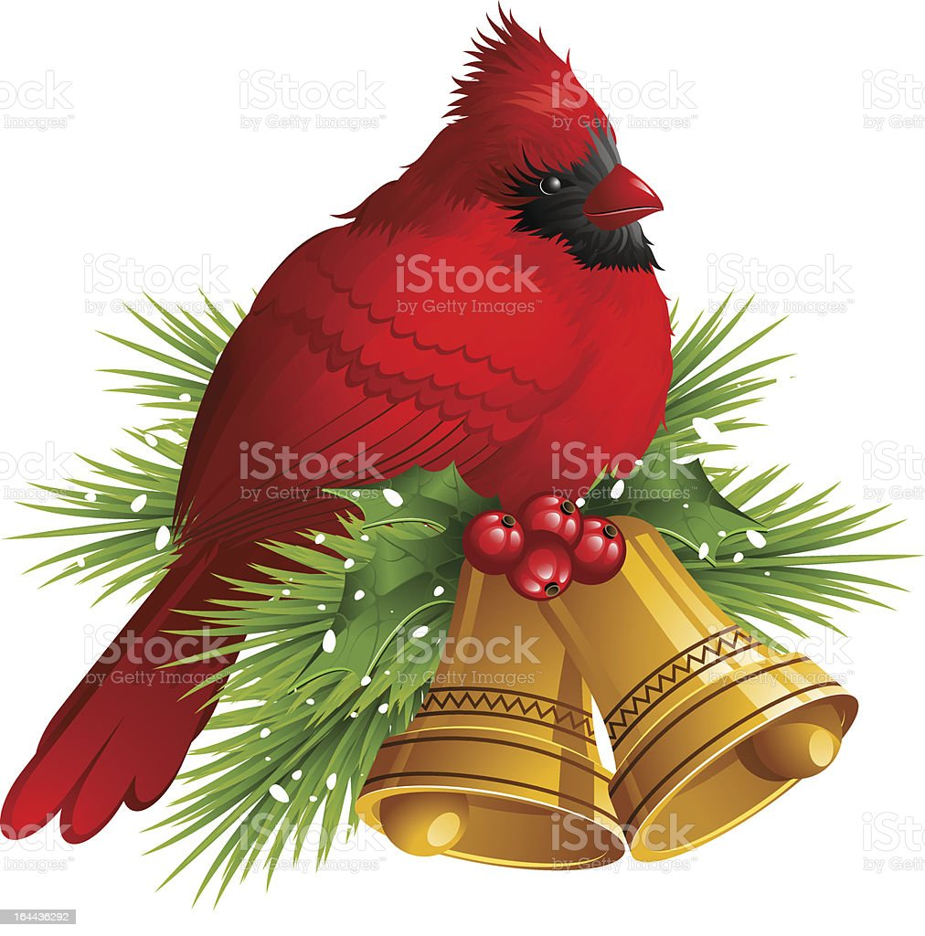 cardinal bird with christmas bells royalty free cardinal bird with christmas bells stock vector art - Red Bird Christmas Tree Decorations