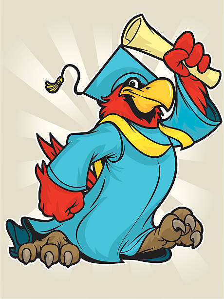 cardinal grad - cardinal mascot stock illustrations, clip art, cartoons, & icons