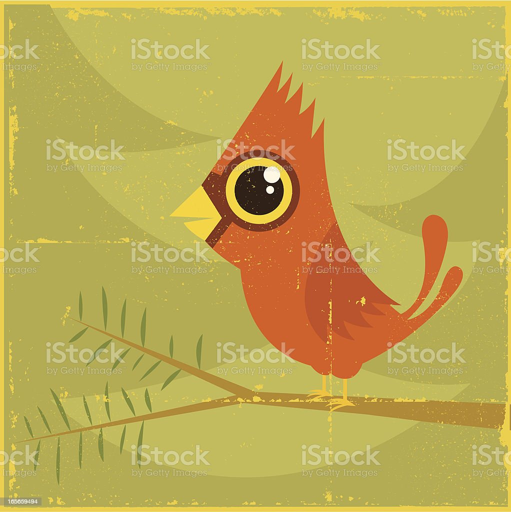 (Vintage) Cardinal in Tree vector art illustration