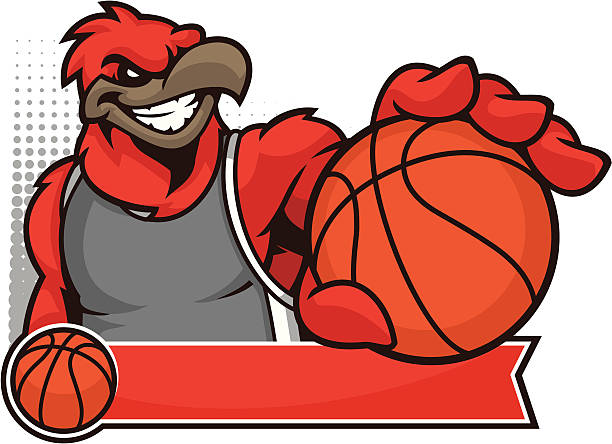 cardinal mascot basketball - cardinal mascot stock illustrations, clip art, cartoons, & icons