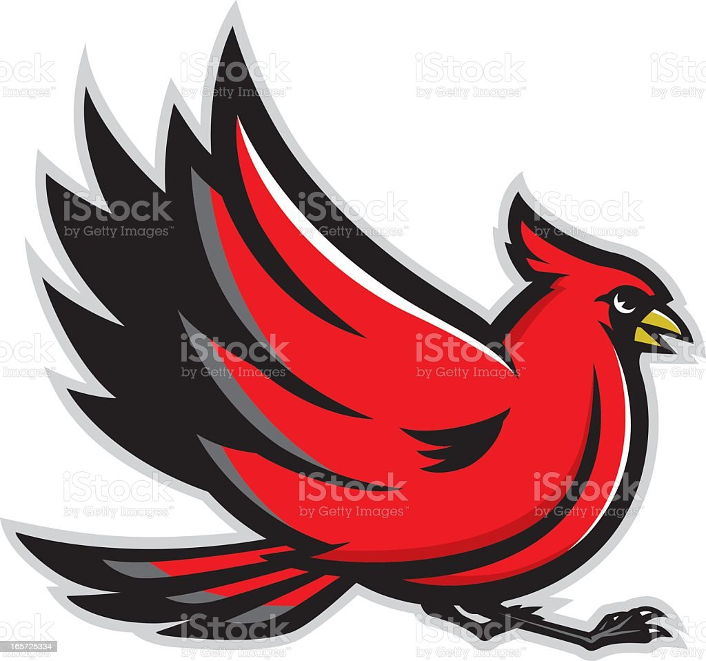 Cardinal mascot isolated on a white background royalty-free stock vector art
