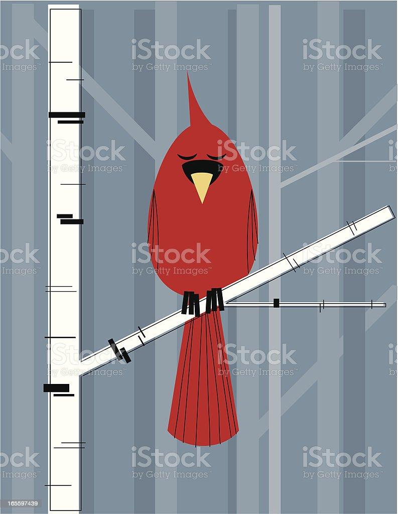 Cardinal On a Birch Branch royalty-free stock vector art