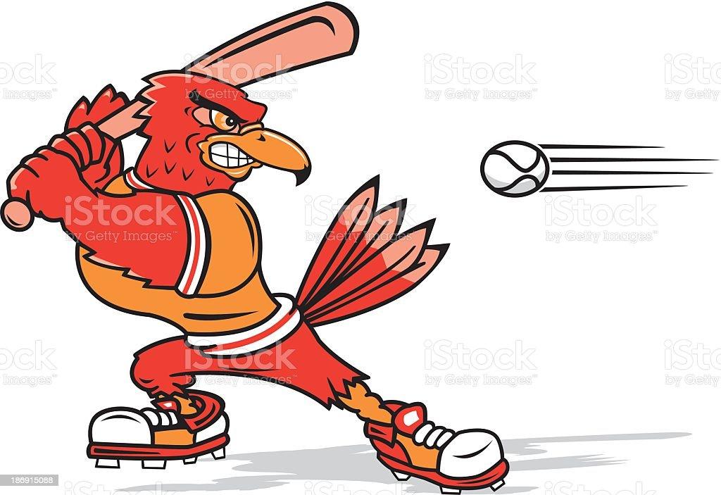 Cardinal Playing Baseball royalty-free stock vector art