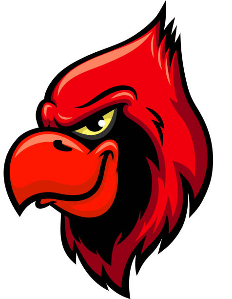cardinal red bird head vector icon - cardinal mascot stock illustrations, clip art, cartoons, & icons