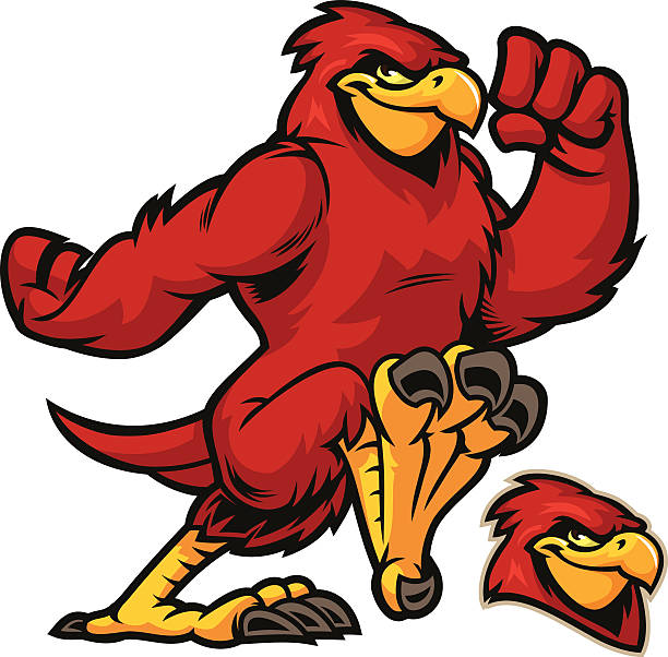 cardinal running - cardinal mascot stock illustrations, clip art, cartoons, & icons