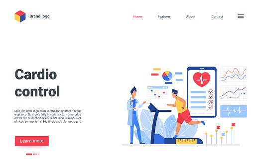 Cardio control landing page, patient running on treadmill, cardiology healthcare medicine