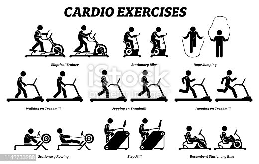 Artworks depict cardio exercise machine, elliptical trainer, stationary bike, rope jumping, treadmill, step mill, stationary rowing, and recumbent bike.