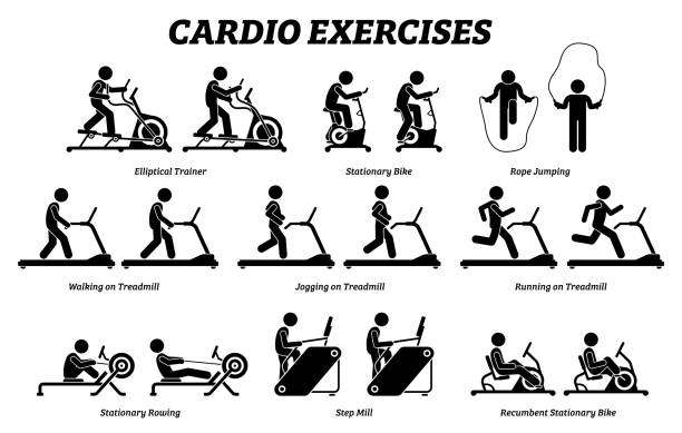 Cardio exercises and fitness training at gym icons and pictogram. Artworks depict cardio exercise machine, elliptical trainer, stationary bike, rope jumping, treadmill, step mill, stationary rowing, and recumbent bike. exercise machine stock illustrations