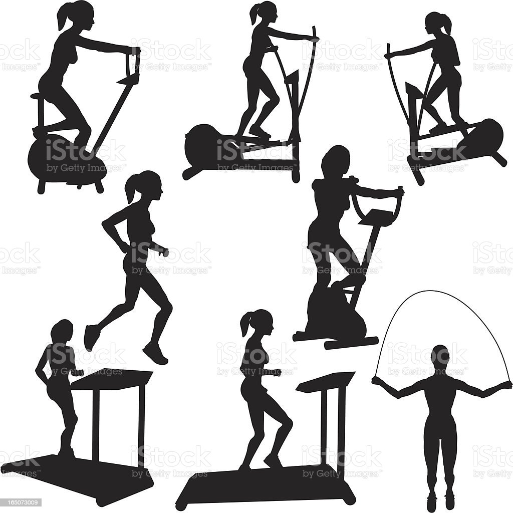 Cardio Workout Silhouette Collection royalty-free stock vector art