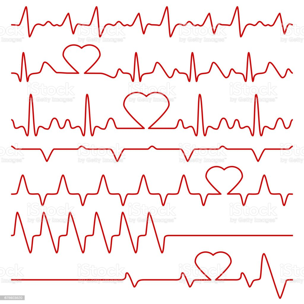 Cardiogram and pulse vector symbols with heart shape vector art illustration