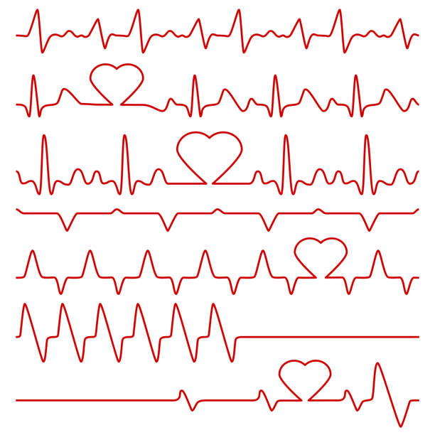 cardiogram and pulse vector symbols with heart shape - ecg stock illustrations, clip art, cartoons, & icons
