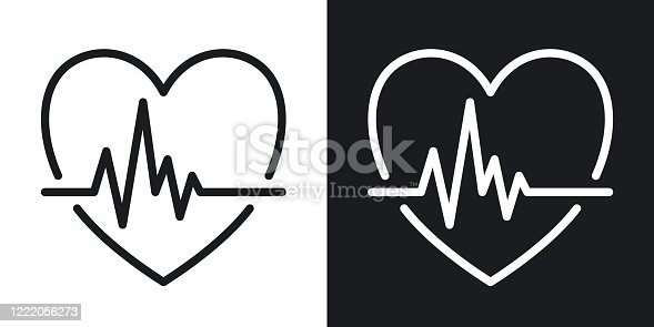 Cardiogram icon. Heart shape with pulse. Minimalistic two-tone vector illustration on black and white background