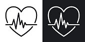 istock Cardiogram icon. Heart shape with pulse. Simple two-tone vector illustration on black and white background 1222056273
