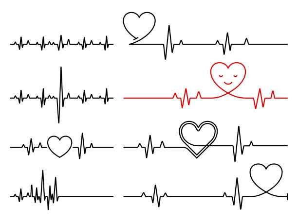 Cardiogram lines set Cardiogram lines set taking pulse stock illustrations