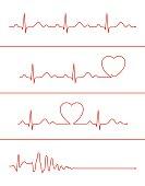 Cardiogram lines set
