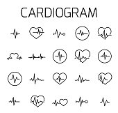 Cardiogram related vector icon set.