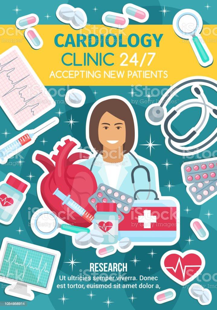 Kardiologe, Arzt, Kardiologie-Kit und Herz – Vektorgrafik