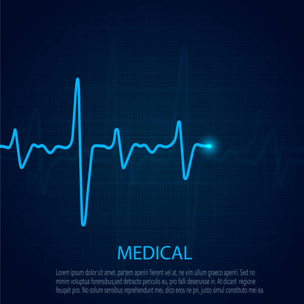 illustrazioni stock, clip art, cartoni animati e icone di tendenza di cardiology concept with pulse rate diagram. medical background with heart cardiogram. - elettrocardiogramma