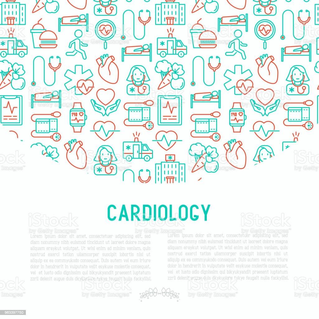 Kardiologi-konceptet med tunn linje ikoner: kardiolog, stetoskop, sjukhus, pulsometeren, kardiogram, heartbeat. Moderna vektorillustration för banner, webbsida, utskriftsmedia. - Royaltyfri Använda en dator vektorgrafik
