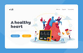 istock Cardiology Health Care, Medicine Landing Page Template. Tiny Doctor Characters with Drugs and Equipment at Huge Heart 1271230315