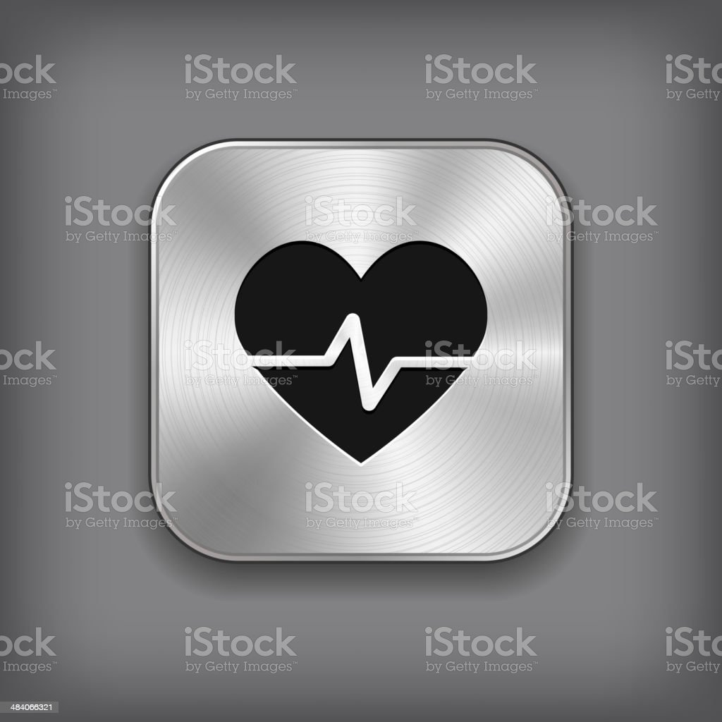 Cardiology Icon Vector Metal App Button Stock Illustration