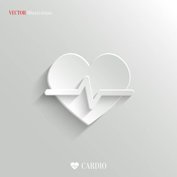 Cardiology icon - vector white app buttonvectorkunst illustratie