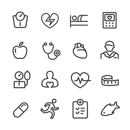 Cardiology Icons - Line Series