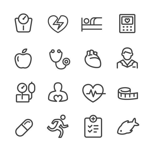 bildbanksillustrationer, clip art samt tecknat material och ikoner med kardiologi ikoner - line serien - kardiolog