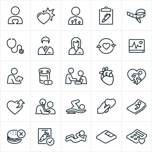Cardiology Icons A set of Cardiology icons. The icons include a male and female cardiologist, heart symbols, check-up, medicine, heart monitor, checklist, tape measure, stethoscope, health and wellness, heart rate monitor, blood pressure check, blood pressure cuff, human heart, medical exam, exercise, fitness, preventative care, swimming, healthy eating and other related icons. doctor and patient stock illustrations