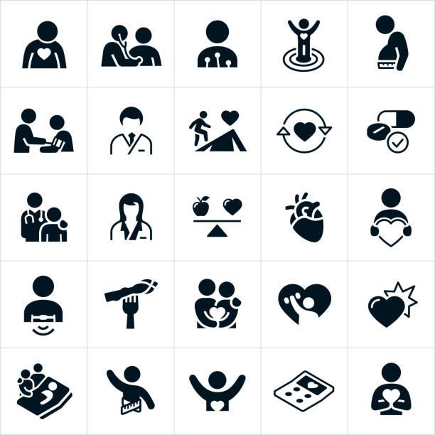 illustrazioni stock, clip art, cartoni animati e icone di tendenza di cardiology icons - dottoressa