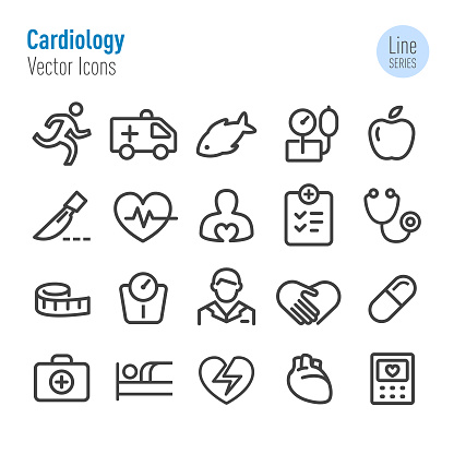 Cardiology Icons - Vector Line Series