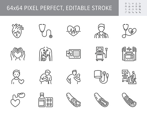 Cardiology line icons. Vector illustration included icon as heart attack, ecg, doctor, pacemaker, defibrillator outline pictogram for cardiovascular clinic. 64x64 Pixel Perfect Editable Stroke