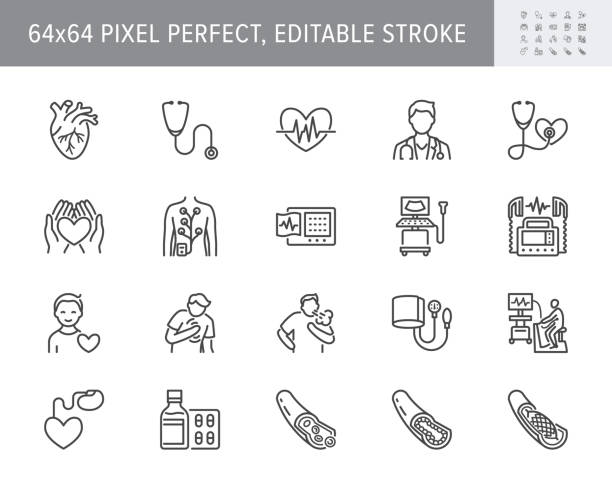 Cardiology line icons. Vector illustration included icon as heart attack, ecg, doctor, pacemaker, defibrillator outline pictogram for cardiovascular clinic. 64x64 Pixel Perfect Editable Stroke Cardiology line icons. Vector illustration included icon as heart attack, ecg, doctor, pacemaker, defibrillator outline pictogram for cardiovascular clinic. 64x64 Pixel Perfect Editable Stroke. medical stock illustrations