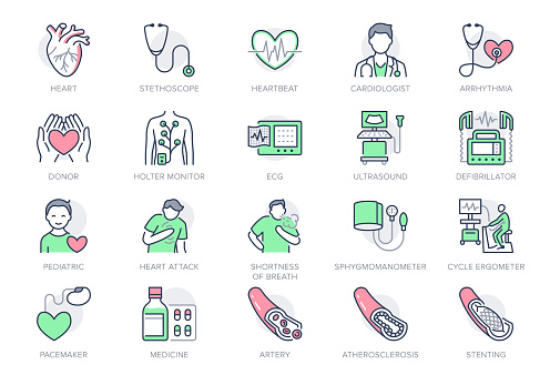 Cardiology line icons. Vector illustration included icon as heart attack, ecg, doctor, pacemaker, defibrillator outline pictogram for cardiovascular clinic. Editable Stroke, Green Color