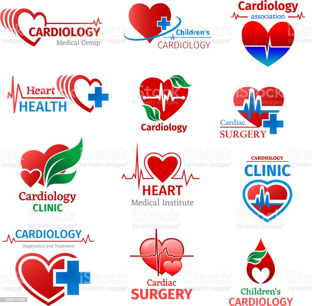 Cardiology Medicine Clinic Vector Heart Icons Stock Illustration
