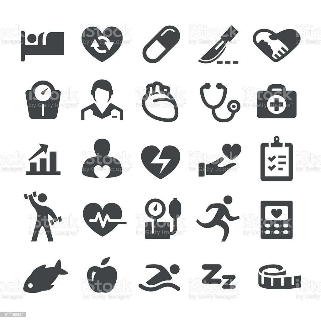 Cardiology Medicine Icons - Smart Series vector art illustration