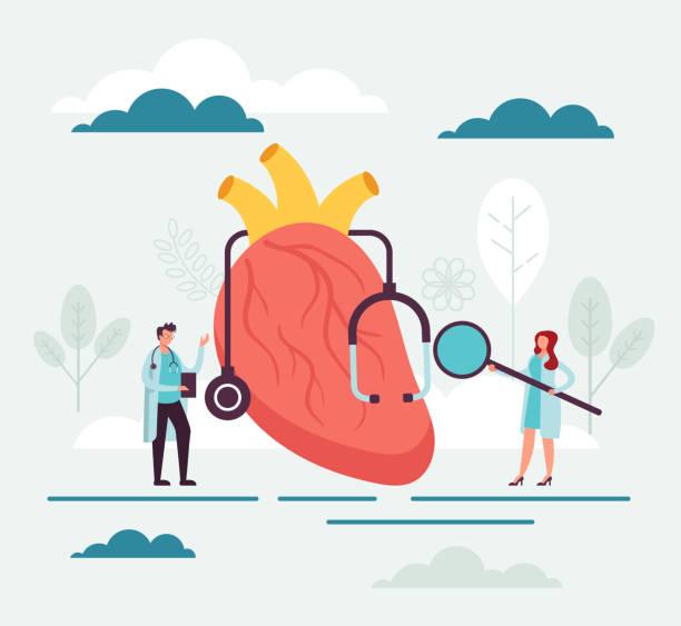 Cardiology medicine transplantation surgery concept. Vector flat graphic design cartoon illustration vector art illustration