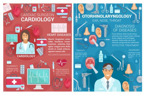 bildbanksillustrationer, clip art samt tecknat material och ikoner med kardiologi, önh medicin kliniken affischer - kardiolog