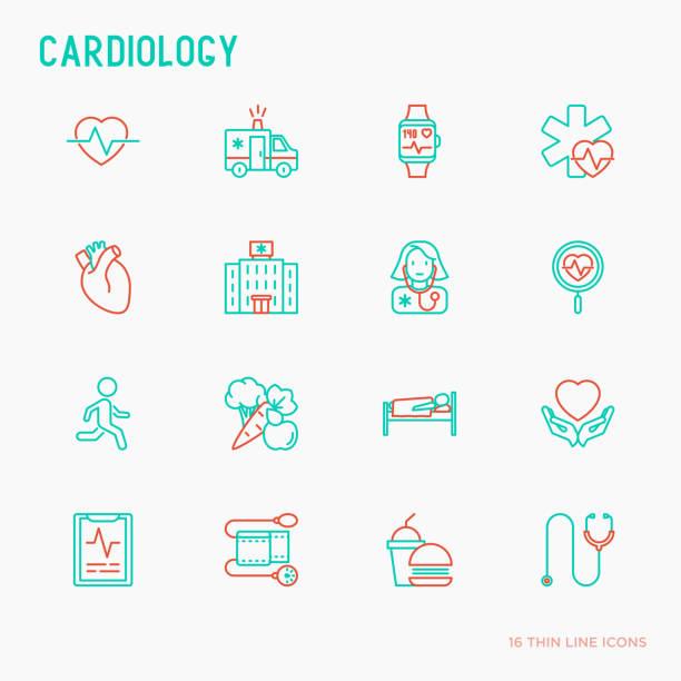 bildbanksillustrationer, clip art samt tecknat material och ikoner med kardiologi tunn linje ikoner set: kardiolog, stetoskop, sjukhus, pulsometeren, kardiogram, heartbeat. moderna vektorillustration. - kardiolog