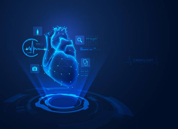cardiology concept of cardiology technology, realistic heart with medical health care hologram cardiovascular exercise stock illustrations